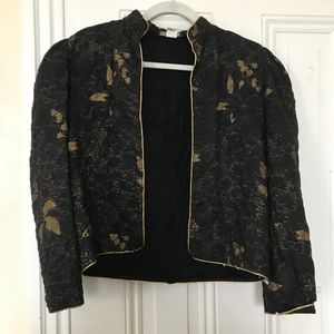 Vintage quilted black and gold coat